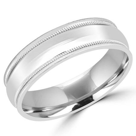 6.0 MM Brushed & Polished Milgrain Mens Comfort Fit Wedding Band Ring in White Gold - #J112-620G-W