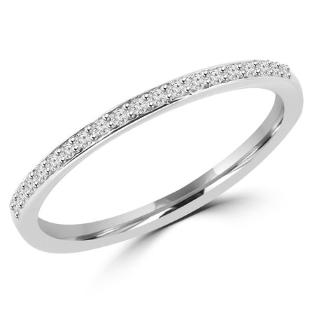 Round Cut Diamond Semi-Eternity Shared-Prong Wedding Band Ring in White Gold - #HR4433-W