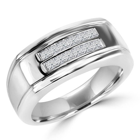Princess Cut Diamond Multi-Stone Channel-Set Mens Wedding Band Ring in White Gold - #HR10095-W