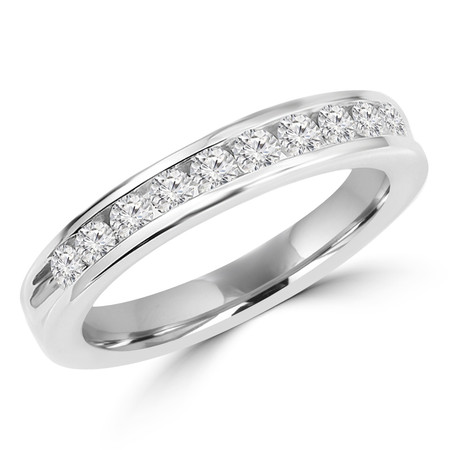 Round Cut Diamond Semi-Eternity Channel-Set Wedding Band Ring in White Gold - #HR4502-W
