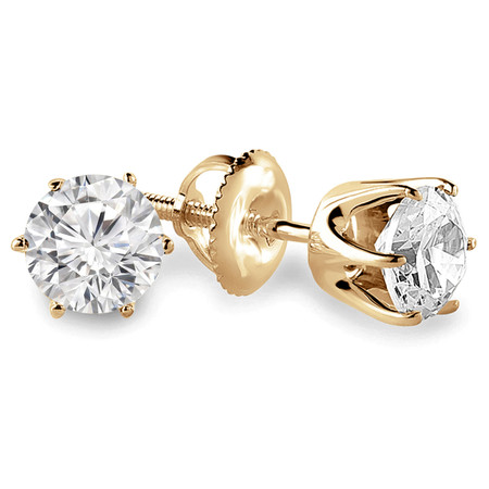 Round Cut Diamond Solitaire 6-Prong Stud Earrings with Screwbacks in Yellow Gold - #G4D6-Y