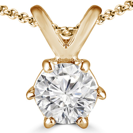 Round Cut Diamond Solitaire 6-Prong Pendant Necklace with Chain in Yellow Gold - #P6R-Y