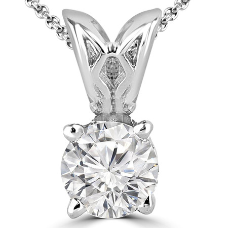 Round Cut Diamond Solitaire 4-Prong Decorative-Bail Pendant Necklace with Chain in White Gold - #PRF-W