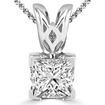 Princess Cut Diamond Solitaire V-Prong Decorative-Bail Pendant Necklace with Chain in White Gold - #PSF-W
