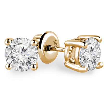 Round Cut Diamond Solitaire 4-Prong Stud Earrings with Screwbacks in Yellow Gold - #R418-Y
