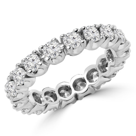 Round Cut Diamond Multi-Stone Full-Eternity 4-Prong Wedding Band Ring in White Gold - #1061L-W