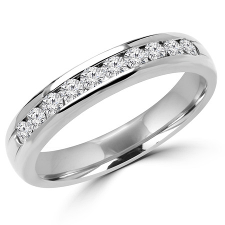 Round Cut Diamond Semi-Eternity Channel-Set Wedding Band Ring in White Gold - #1546L-W