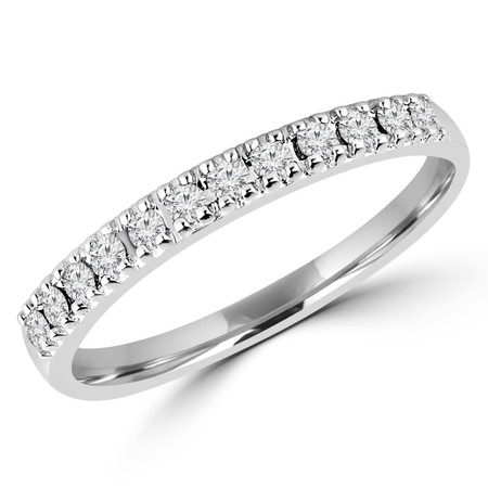 Round Cut Diamond 4-Prong Semi-Eternity Wedding Band Ring in White Gold - #CFF51