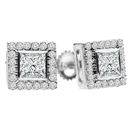 Princess Cut Diamond Multi-Stone Bezel-Set Halo Vintage Stud Earrings with Round Diamond Accents in White Gold - #HE4892-W-PR