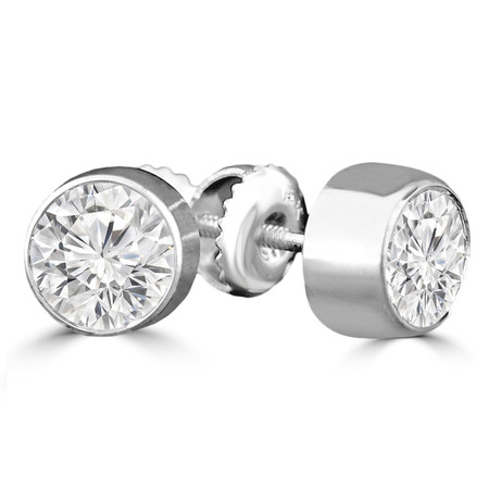 Round Cut Diamond Solitaire Bezel-Set Stud Earrings with Screwbacks in White Gold - #R447H-W