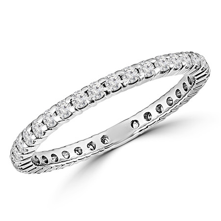 Round Cut Diamond Full-Eternity Shared-Prong Wedding Band Ring in White Gold - #UFOH9619-W