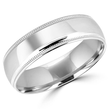 6.2 MM Polished Milgrain Mens Comfort Fit Wedding Band Ring in White Gold - #J103-620G-W