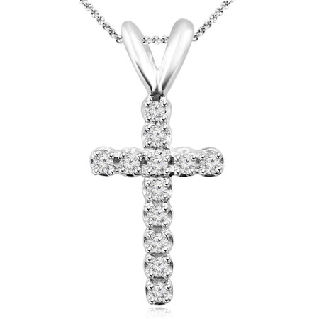 CROSS - 1/10 CTW Pave Diamond Cross Pendant Necklace in 14K White Gold With Chain - #CROSS-W