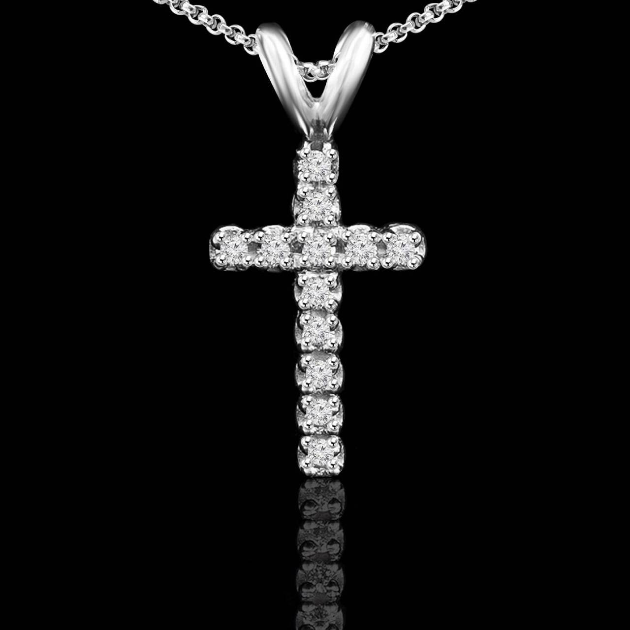 Diamond cross pendant bijoux majesty cross 110 ctw pave diamond cross pendant necklace in 14k white gold with aloadofball Gallery