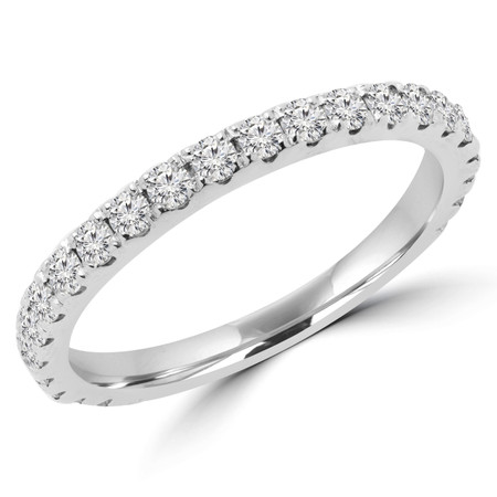 Round Cut Diamond Semi-Eternity Wedding Band Ring in White Gold - #ELIAS-BAND-W