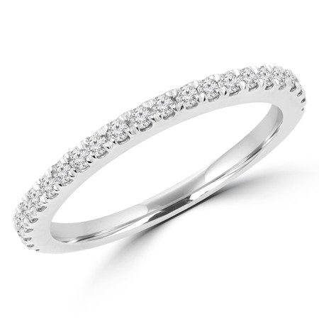Round Cut Diamond Multi-Stone Semi-Eternity Wedding Band Ring in White Gold - #JENNA-B-W