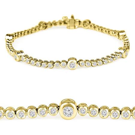 Round Cut Diamond Bezel-Set Tennis Bracelet in Yellow Gold - #B2118-Y
