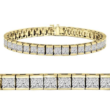 Radiant Cut Diamond Bar Set Tennis Bracelet in Yellow Gold - #B-619-Y