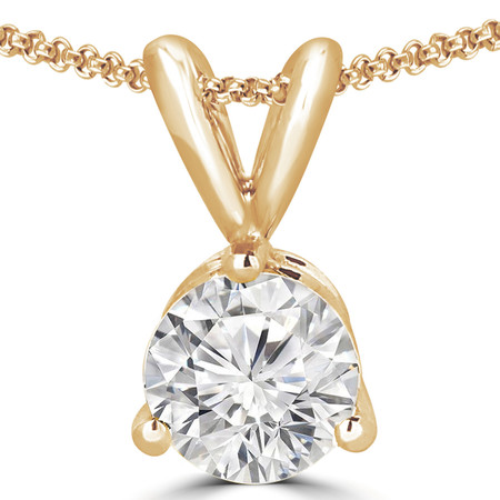 Round Cut Diamond Solitaire 3-Prong Pendant Necklace with Chain in Yellow Gold - #R740-Y