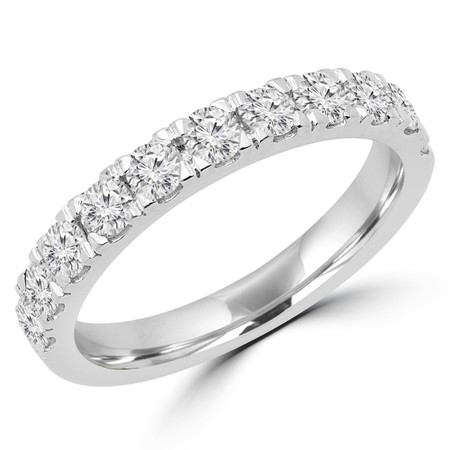 Round Cut Diamond Semi Eternity Band Ring in White Gold - #PAULEY-W