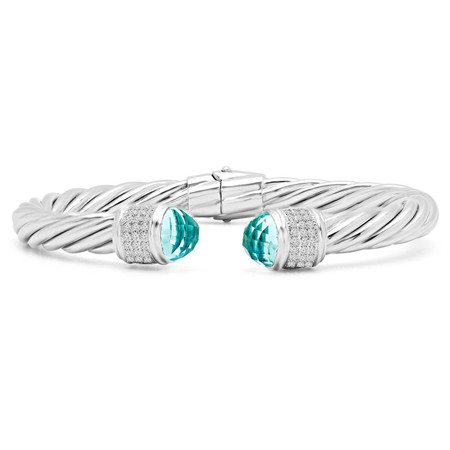 Round Cut Blue and White Cubic Zirconia Small Bangle Bracelet in Sterling Silver - #SIN-B-925-SM-BLUE-2