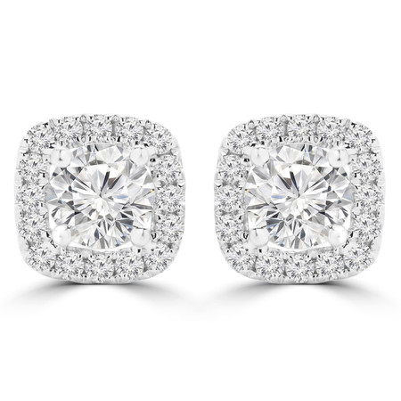 Round Cut Diamond Multi-Stone 4-Prong Halo Stud Earrings with Round White Diamond Accents in White Gold - #E8890-W