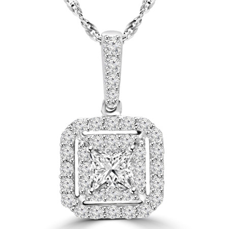 Round Cut Diamond Multi-Stone Halo Pendant Necklace With Chain in White Gold - #MAJESTY-P11-W