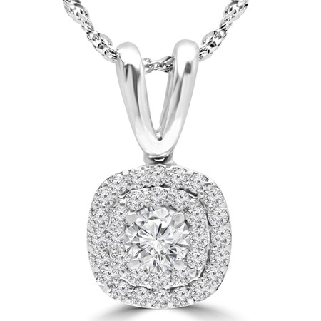 Round Cut Diamond Multi-Stone Double Halo Pendant Necklace With Chain in White Gold - #MAJESTY-P12-W