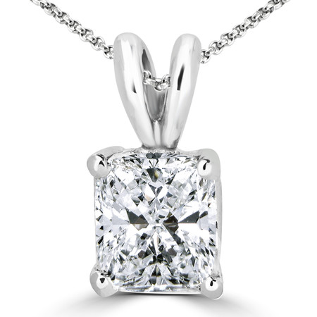Radiant Cut Diamond Solitaire 4-Prong Pendant Necklace with Chain in White Gold - #PS10-RAD-W