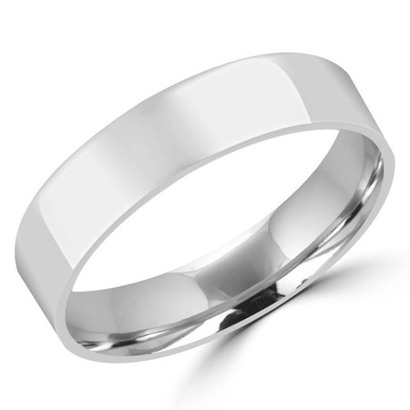 5.0 MM Polished Mens Comfort Fit Wedding Band Ring in White Gold - #J105-520G-W