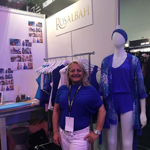 Rosa at her stand displaying the Pacific Dreams fashion collection for the first time