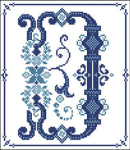 Decorative Blue Alphabet D