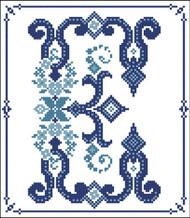 Decorative Blue Alphabet E