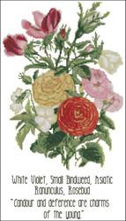 Floral Emblems 002-White Violet, Small Bindweed, Rosebud