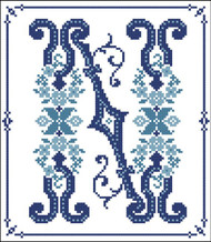 Decorative Blue Alphabet N