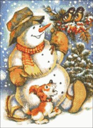 Snowman with Birds and Dog