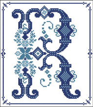 Decorative Blue Alphabet R
