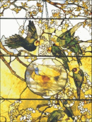 Parakeets and Goldfish Stained Glass