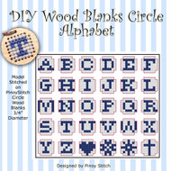DIY Petite Wood Blanks Circle Alphabet Cross Stitch Pattern