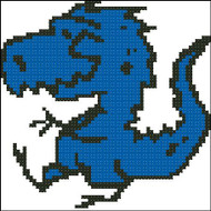 Blue Dino Stick Drawing