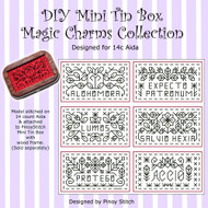 DIY Mini Tin Box Magic Charms Collection on 14c Aida