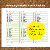 Editable Weeks Dye Works Embroidery Floss Checklist Colors Printable Expandable Form PDF Instant Download