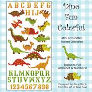 Dinosaur Fun Colorful Cross Stitch