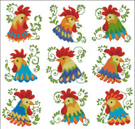 Jacobean Roosters Colorful