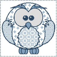 Owl Patchwork Soft Blues