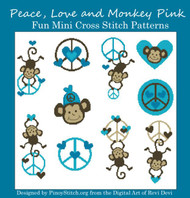 Peace Monkey Love Blue