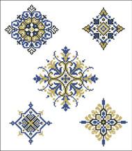 Geometric Medallions Blue Gold