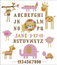 Candy Stripe Zoo Girl Sampler