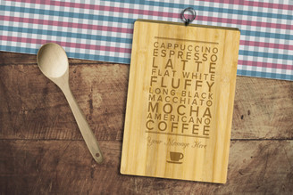 Personalised Chopping Board Standard - Coffee Words - Your Message
