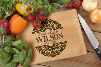 Personalised Chopping Board Premium - Couples - Floral